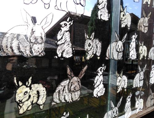 Intervención artística nas ventás da aula de Debuxo